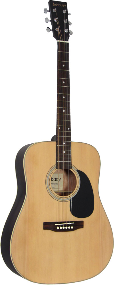 Ashbury AG-25 Solid Top Acoustic Guitar Dreadnought body, Solid canadian spruce top, nato back and sides