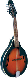 Blue Moon BM-07 A Style Mandolin with F Holes Teardrop shaped body, arch top, F soundholes, sunburst finish. Adjustable bridge
