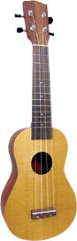 Ashbury AU-14 Soprano Ukulele, Spruce Top Spruce top, sapele back and sides. Hardwood fingerboard and bridge