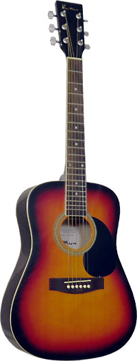 Blue Moon BG-14 Mini Dreadnought Guitar, S/B 3/4 size body, steel strung. Vintage sunburst, spruce top, linden back & sides