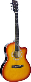 Blue Moon BG-15 Small Body Guitar, Cutaway, S/B Small body with cutaway, cherry sunburst finish